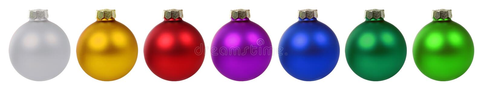 Christmas balls baubles decoration border in a row isolated on w. Christmas balls baubles decoration deco border in a row isolated on a white background stock photo