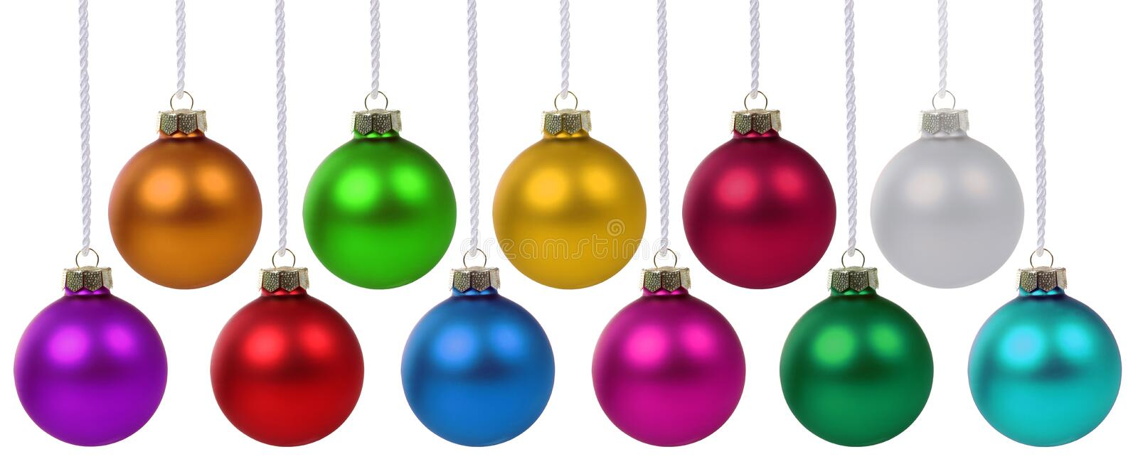 Christmas balls baubles many colorful decoration deco hanging stock photography