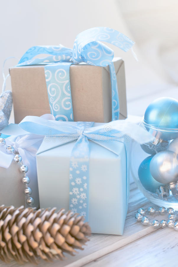 Christmas balls, beads, cones, Christmas background. Christmas background. Merry Christmas branches,gift box, balls, ribbon, cones, Blue and white color royalty free stock image