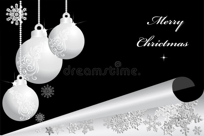 Christmas balls on black background 2. Silver christmas balls on black background royalty free illustration