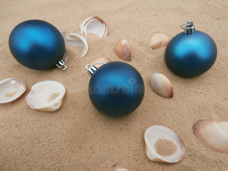 Christmas balls blue stock photography
