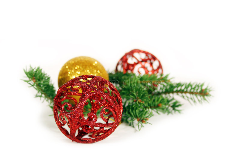 Christmas Balls and branch royalty free stock photo