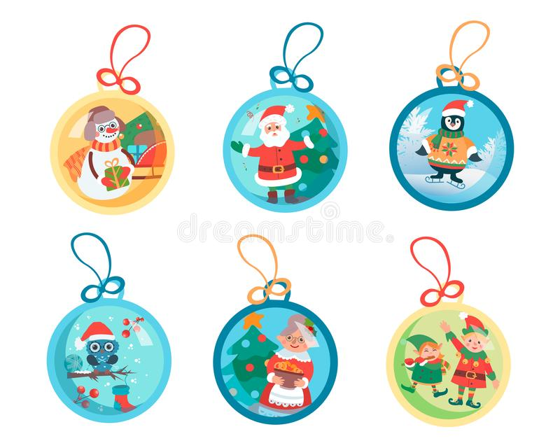 Christmas balls with Christmas plots and Christmas characters Santa Claus, snowman, penguin, owl, happy people and decorated. Christmas tree. Vector royalty free illustration