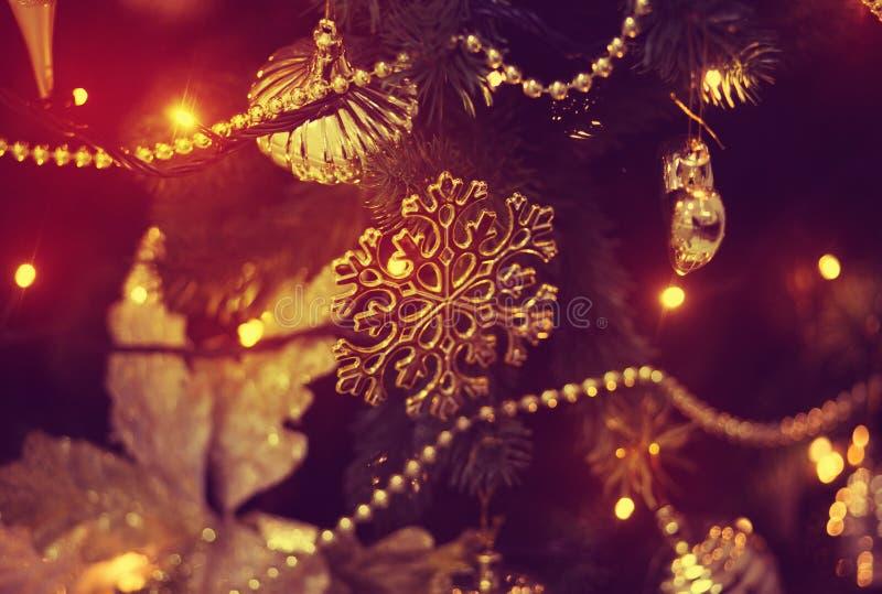Christmas balls on the Christmas tree. Christmas decorations on the Christmas tree, snowflakes, balls, garlands, closeup, texture, background stock photos