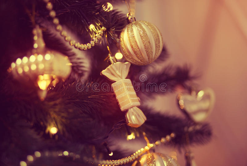 Christmas balls on the Christmas tree. Christmas decorations on the Christmas tree, snowflakes, balls, garlands, closeup, texture, background stock photography
