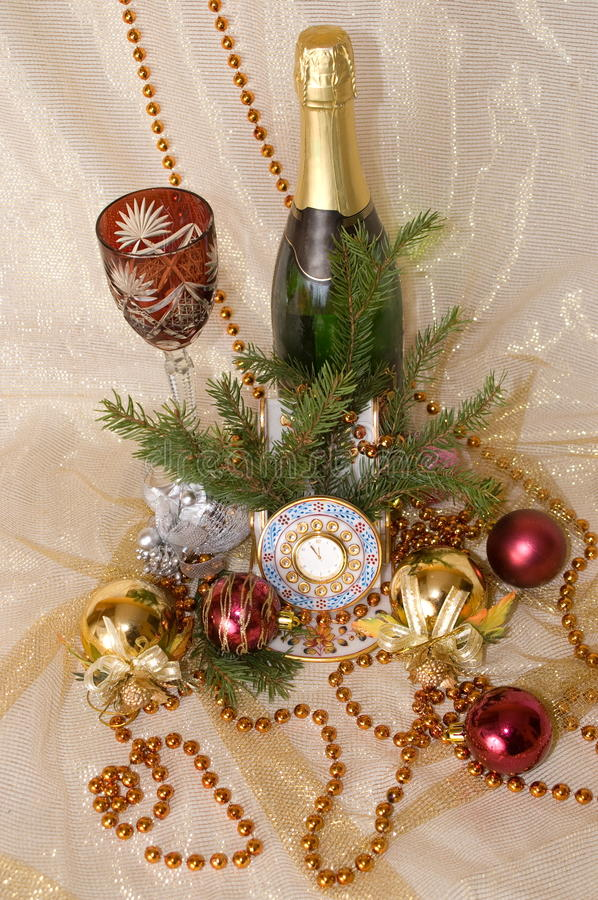 Download Christmas Balls, Clock,  Glass And Bottle Stock Image - Image: 11226855