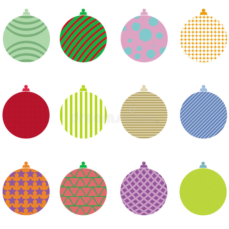 Christmas balls collection vector set stock photo