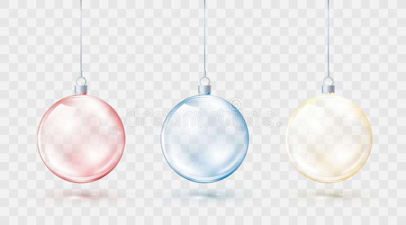 Christmas balls colorful set. Red blue and yellow xmas balls isolated on transparent background. Holiday decorative element stock illustration