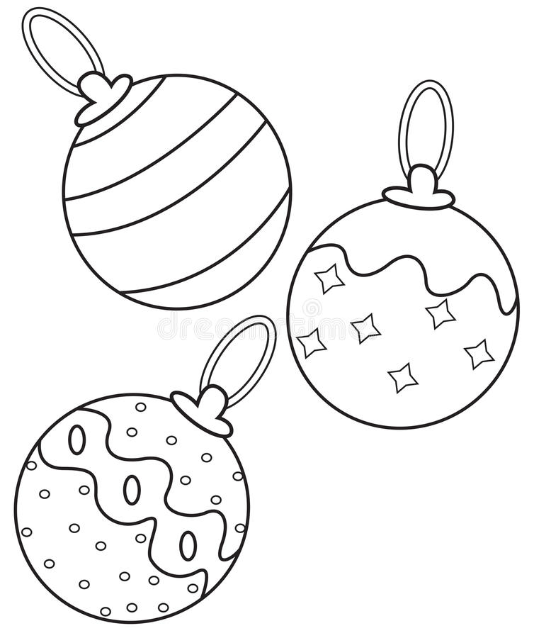 Christmas Balls Coloring Page Stock Illustration - Illustration of ...