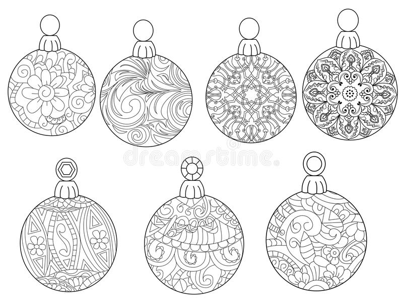 Christmas balls coloring vector for adults stock photo