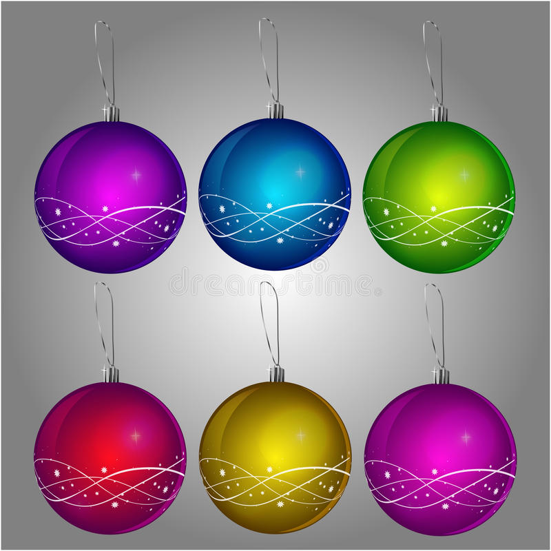 Christmas balls in 6 colors royalty free stock images