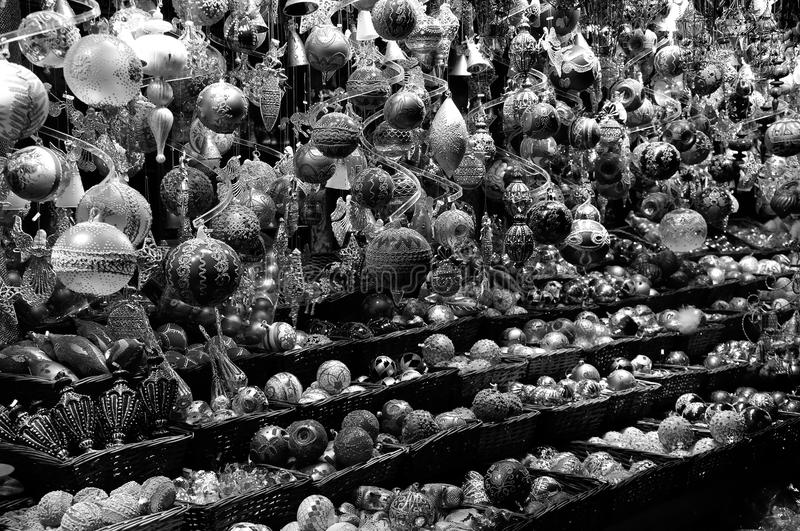 Christmas balls decoration in bw, Vienna market, Austria stock image