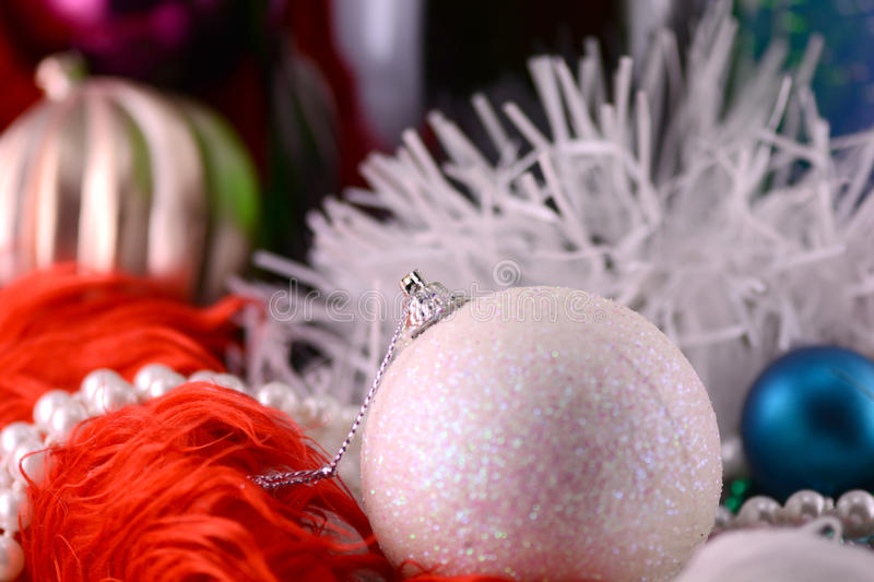 Christmas balls, diamonds and ribbon, new year decoration royalty free stock photos