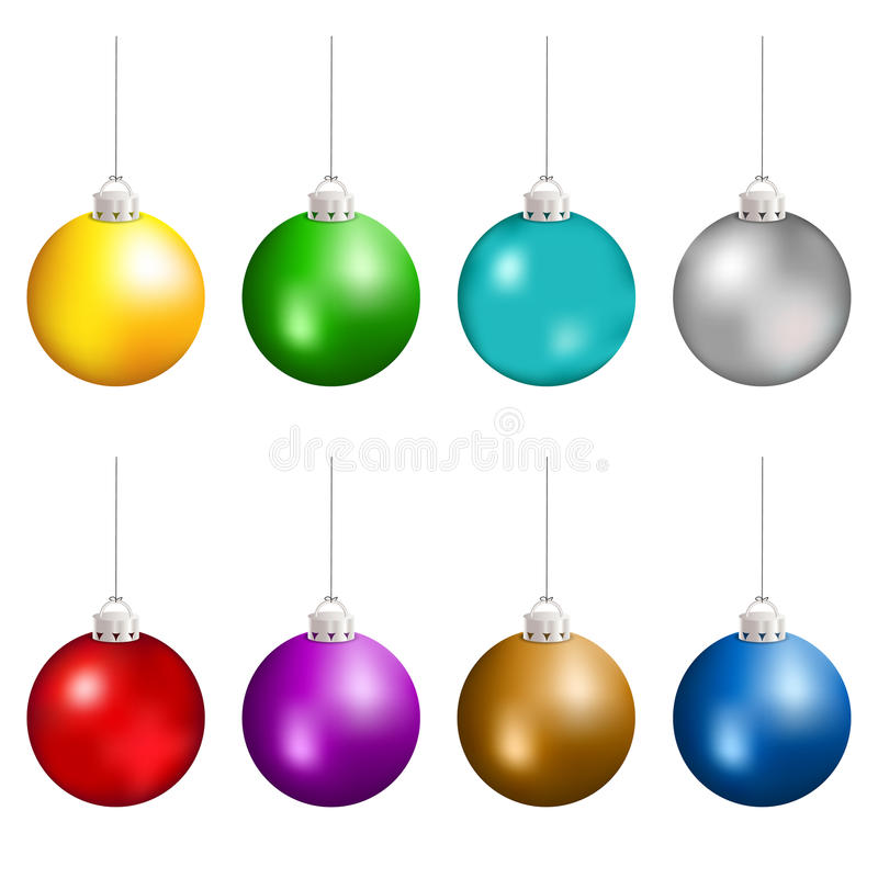 Christmas balls in different colors hanging. Vector eps10. vector illustration