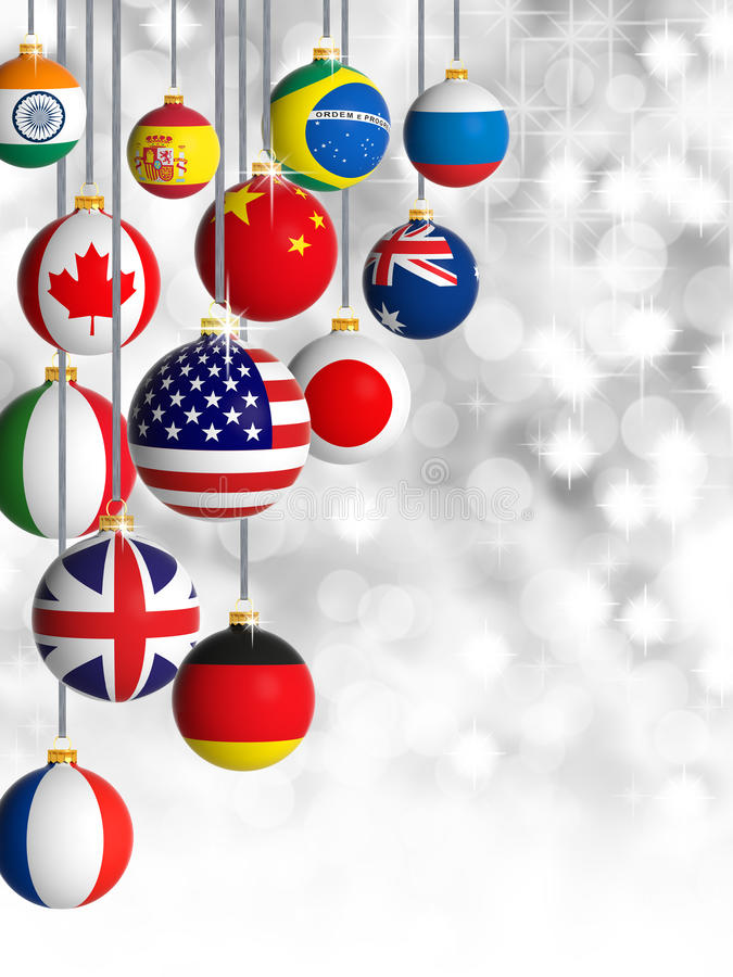 Christmas balls with different flags hanging stock illustration