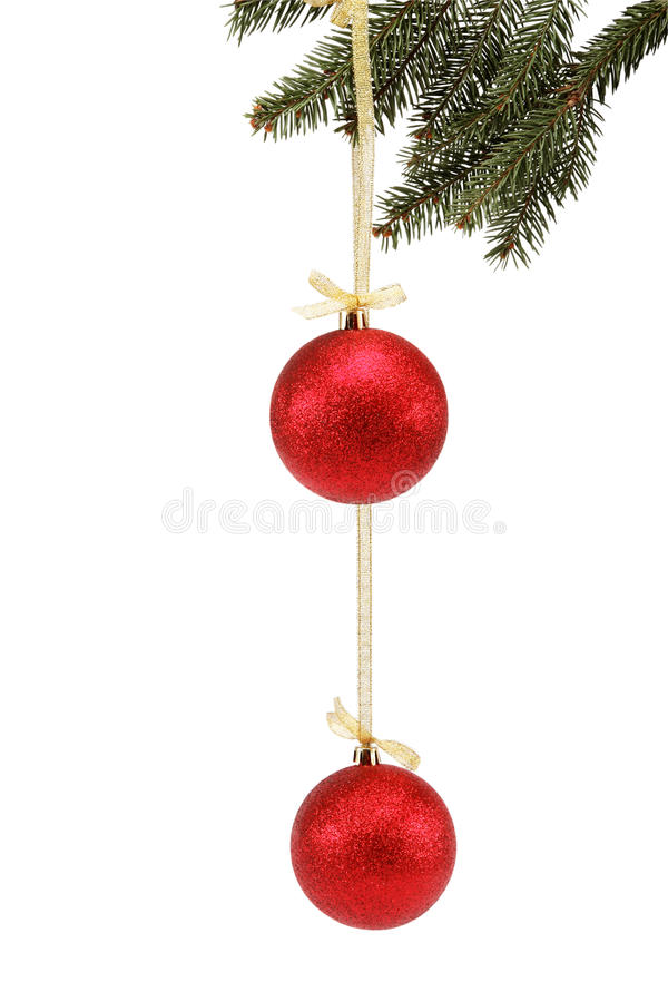 Download Christmas Balls On Fir Branch Isolated. Stock Image - Image: 27808991