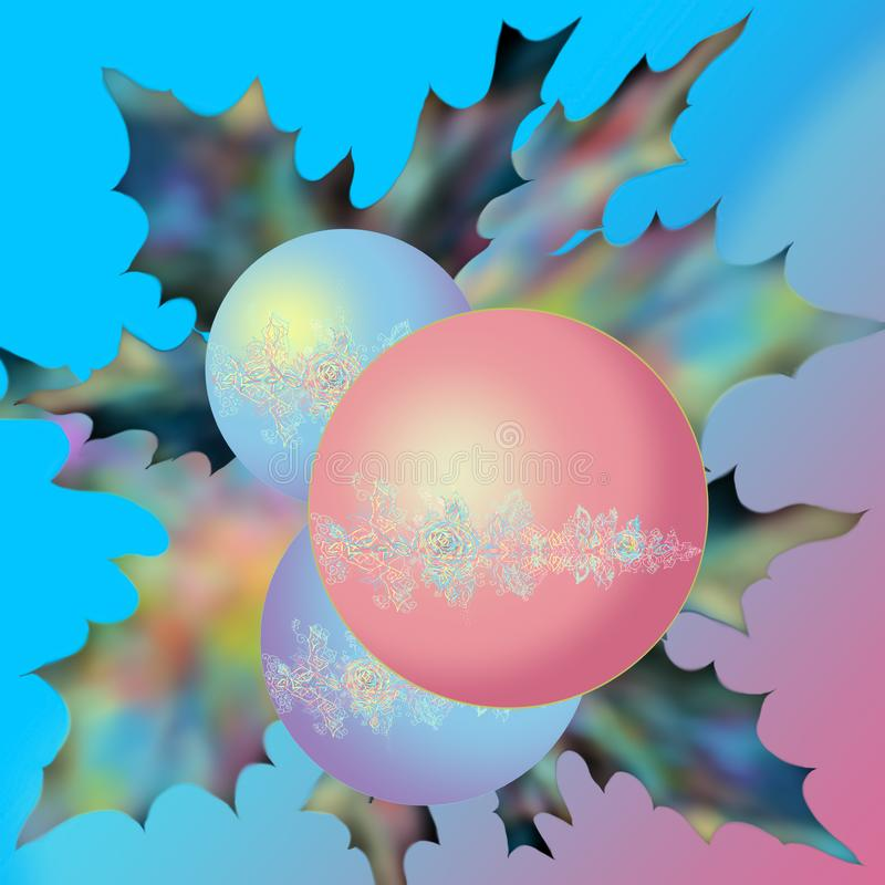 Christmas balls with fir branches and holly. Spheres shining with a holly branch for a holiday. Happy New Year card. stock illustration