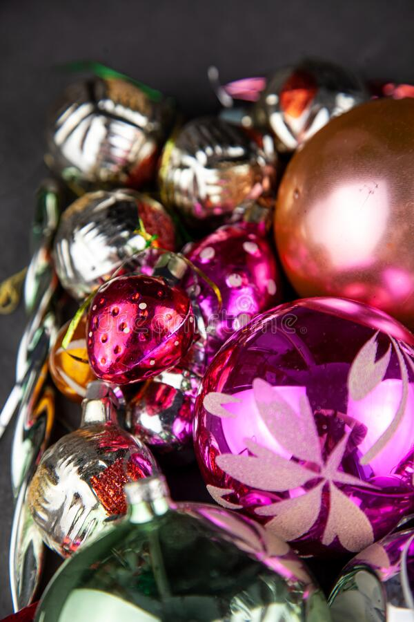 Free Christmas Balls For A Christmas Background. Old Retro Ball For Decorating The Christmas Tree. Glass New Year Decorations Stock Image - 196954991