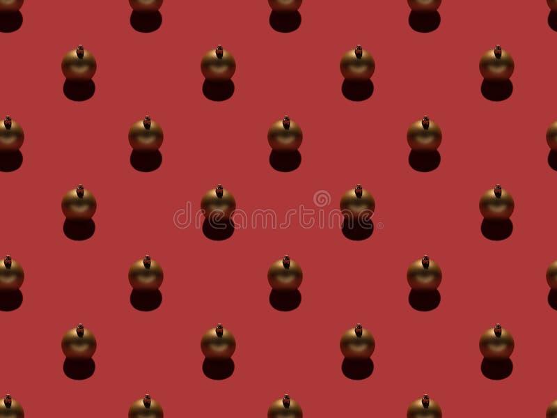 Full frame of arranged golden christmas balls. Isolated on red stock photo