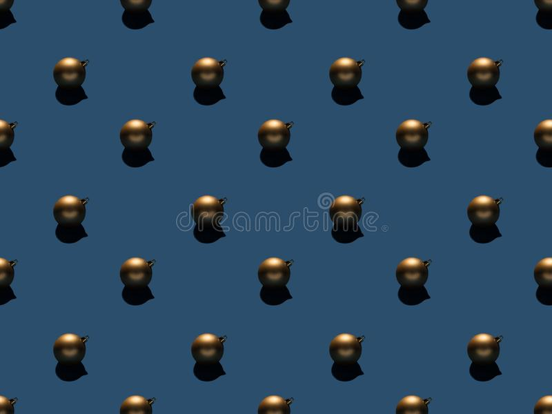 Full frame of arranged christmas balls. Isolated on blue royalty free stock images
