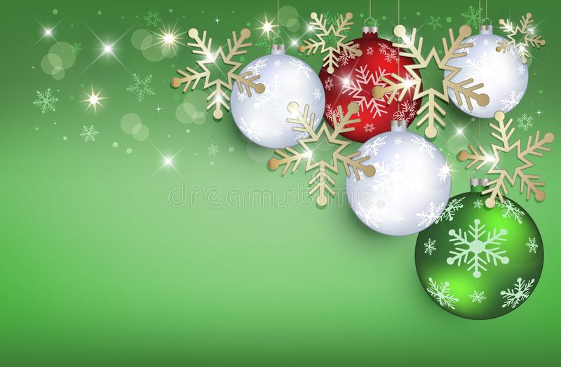Christmas balls greeting card green background snow flakes gold vector illustration