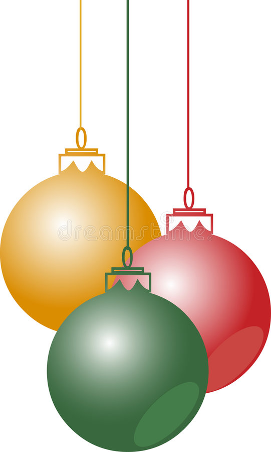 Download Christmas Balls Hanging With Ribbons Royalty Free Stock Photography - Image: 7425557
