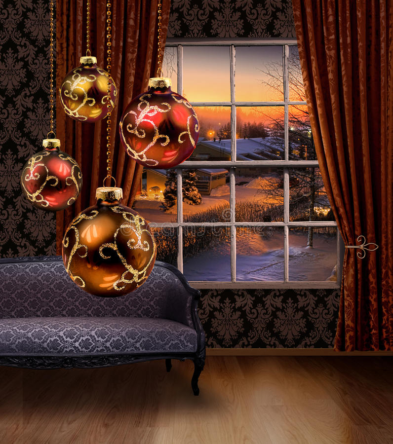 Christmas balls hanging, winter street view window royalty free stock images