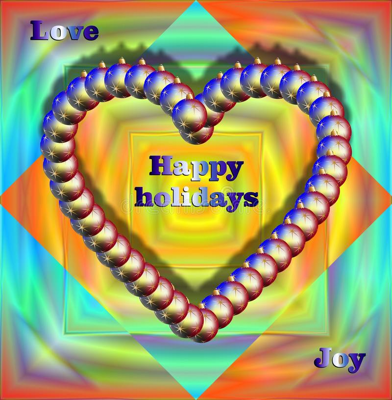 Christmas balls heart. And wishes of love and joy on colorful background royalty free stock images