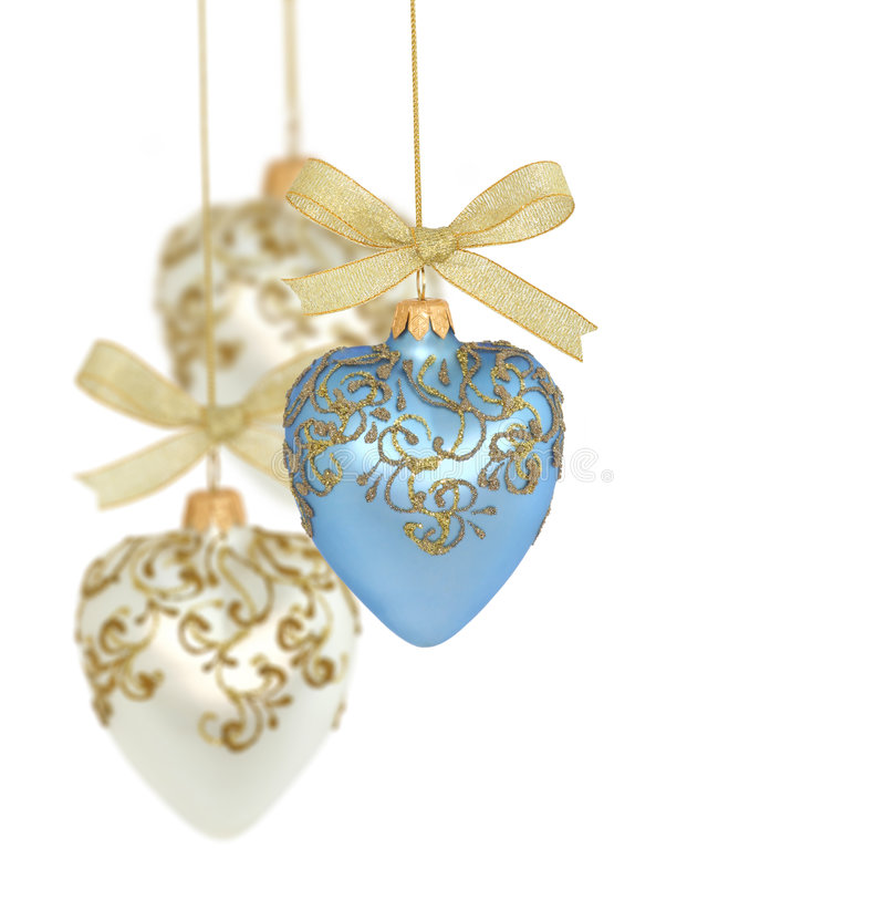 Christmas balls / hearts. Christmas balls on white background / copy space stock photo