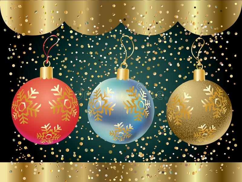 Christmas balls. Christmas Holiday poster. Glitter Christmas colorful balls with snowflakes and festive bright sparkles confetti on dark background. Vector vector illustration