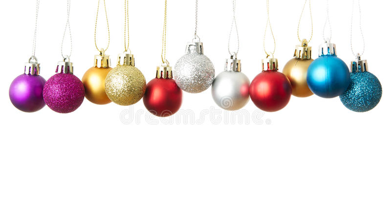 Christmas balls isolated on a white background. New year. Copy space stock photos