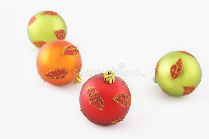Christmas balls with leaf ornament royalty free stock images