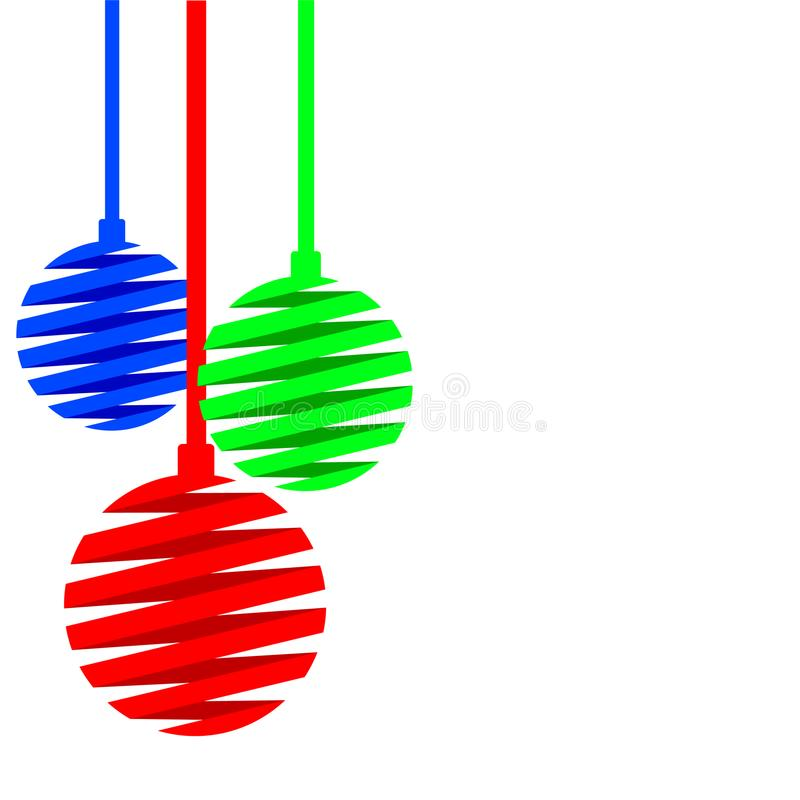Christmas balls made of red, blue, green ribbons isolated on white background. Banner for New Year and Merry Christmas. Vector il vector illustration