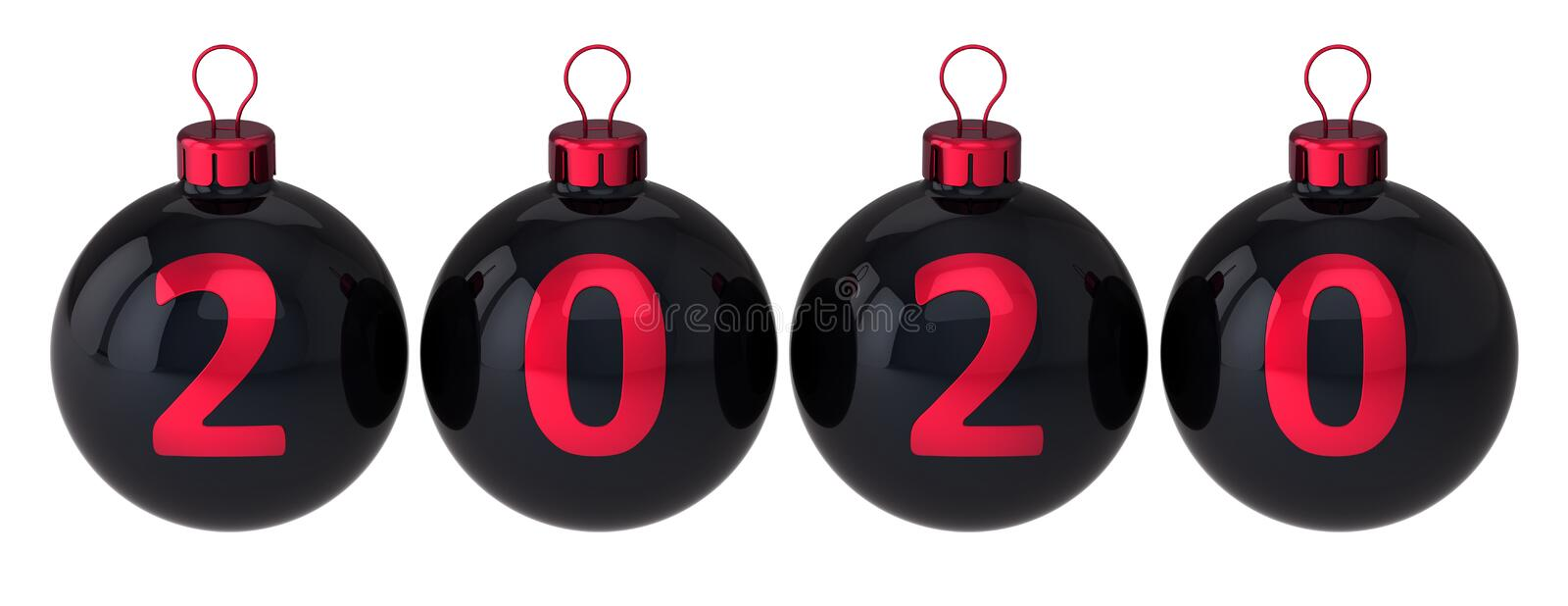 Christmas balls 2020 New Year decoration black with red date royalty free stock image
