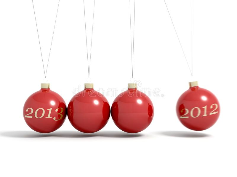 Christmas balls new year's eve pendulum 2013 royalty free illustration