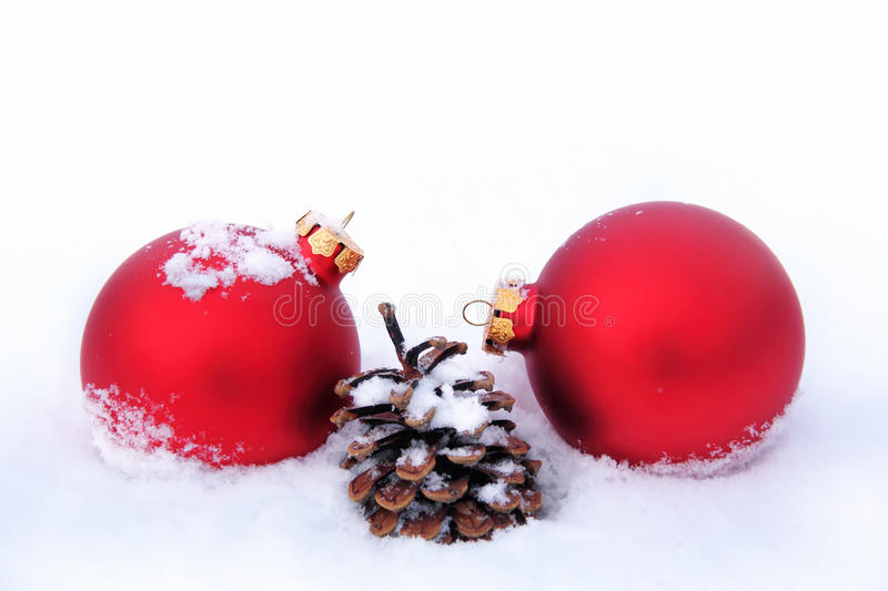 Download Christmas Balls And Pine Cone In The Snow Stock Photo - Image: 32860024