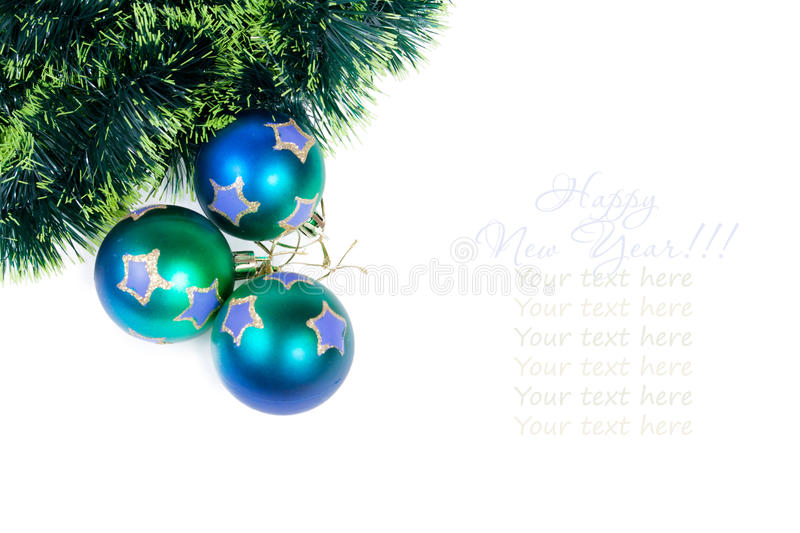 Christmas balls with a pine tinsel royalty free stock photography