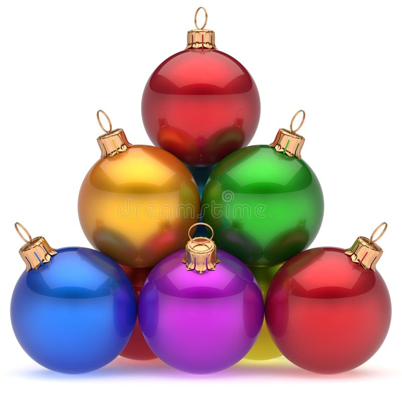 Christmas balls pyramid multicolored red leader on top hierarchy stock illustration