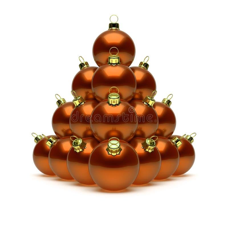 Christmas balls pyramid orange golden. Happy New Year baubles vector illustration