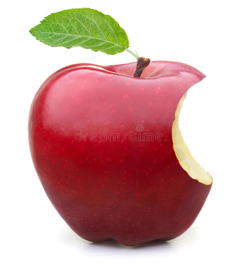 Red apple missing a bite stock photos