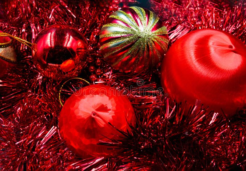 Christmas balls red and gold royalty free stock photos