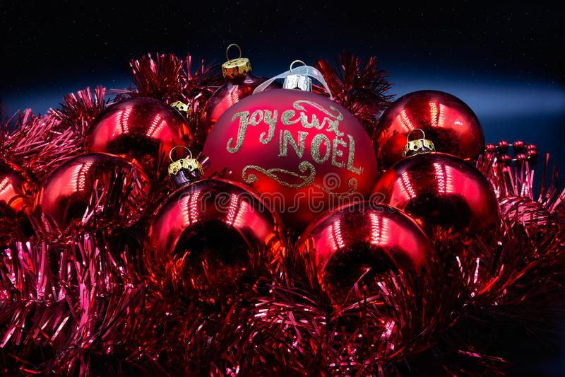 Christmas balls red and gold stock photography