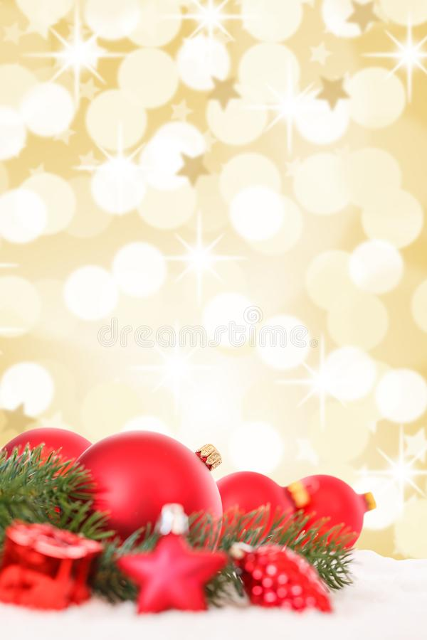 Free Christmas Balls Red Golden Decoration Baubles Stars Portrait For Stock Images - 128369054