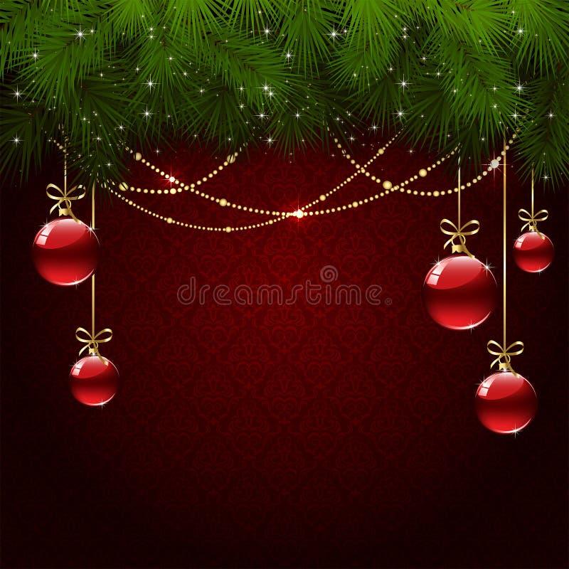 Christmas balls on red wallpaper vector illustration
