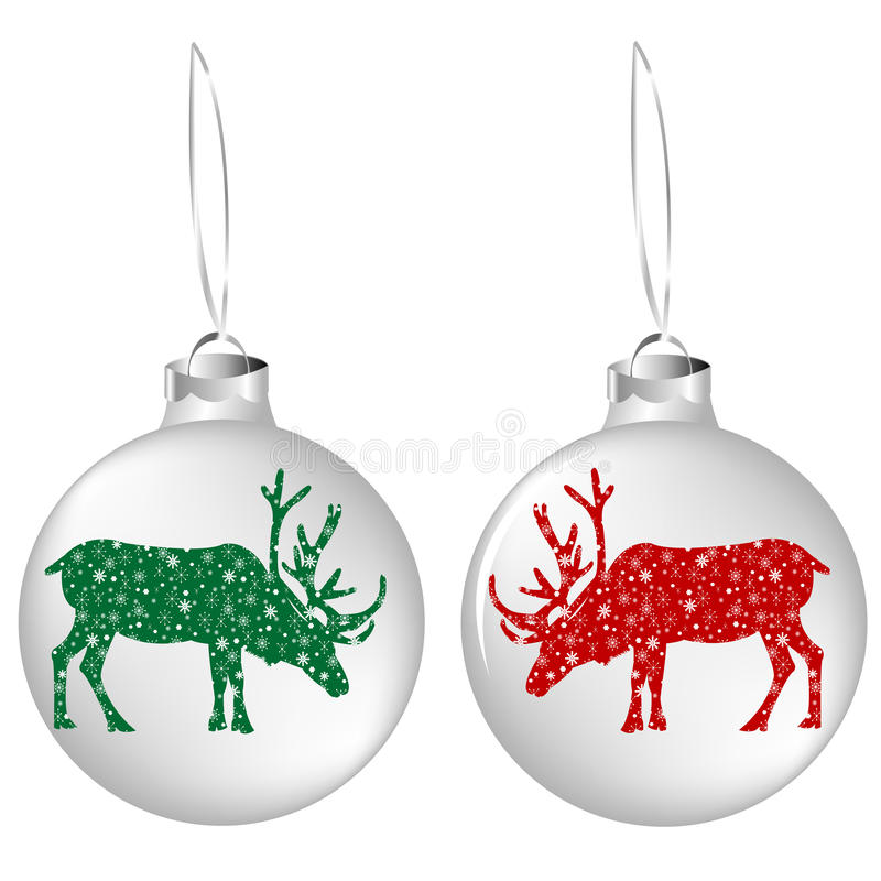 Download Christmas Balls With Reindeers Stock Illustration - Illustration: 16769945