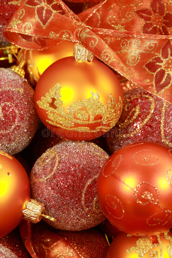Christmas balls with ribbon stock photos