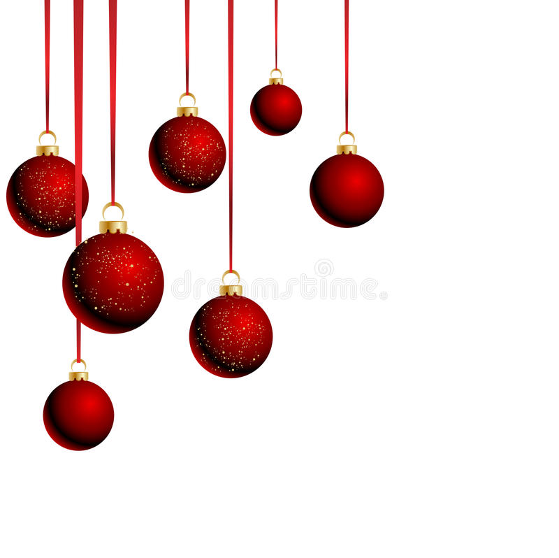 Christmas balls with ribbons on white background royalty free illustration