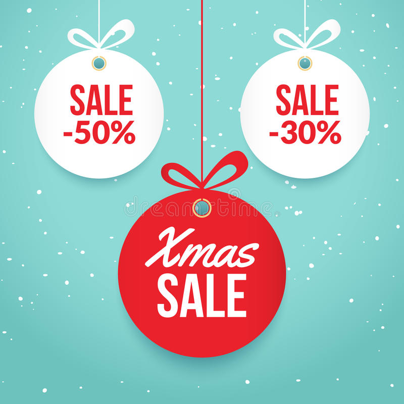 Christmas Balls Sale Special Offer Vector Tag New Year Holiday