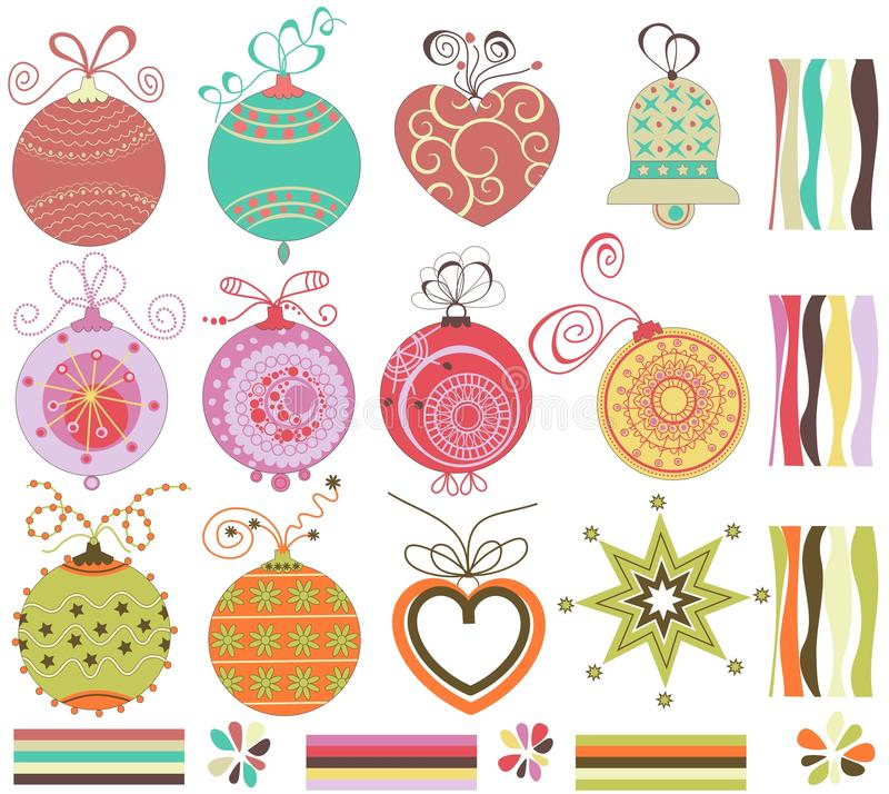Christmas balls set vector illustration
