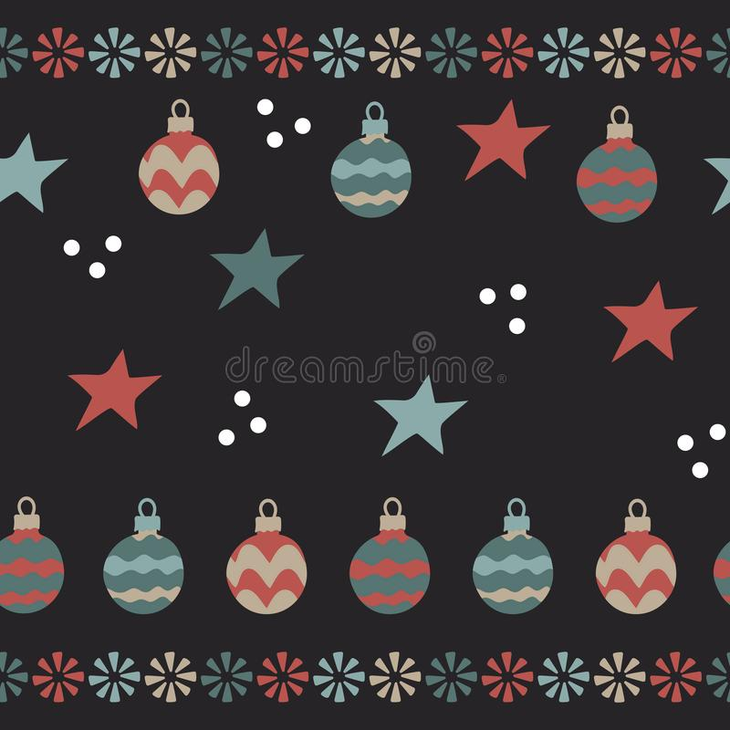 Christmas balls, snowflakes . Seamless pattern on dark background royalty free illustration